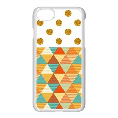 Golden Dots And Triangles Patern Apple Iphone 7 Seamless Case (white)