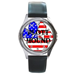 Plott Name Usa Flag Paw Round Metal Watch