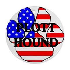 Plott Name Usa Flag Paw Ornament (Round)