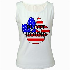 Plott Name Usa Flag Paw Women s White Tank Top