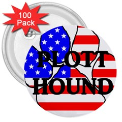Plott Name Usa Flag Paw 3  Buttons (100 pack)