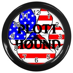 Plott Name Usa Flag Paw Wall Clocks (Black)
