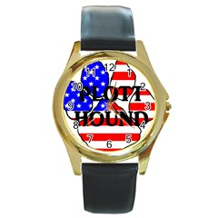 Plott Name Usa Flag Paw Round Gold Metal Watch