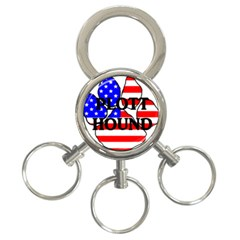Plott Name Usa Flag Paw 3-Ring Key Chains