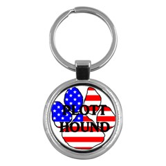 Plott Name Usa Flag Paw Key Chains (Round)