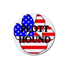 Plott Name Usa Flag Paw Rubber Coaster (Round)
