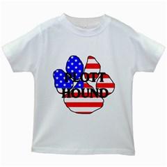 Plott Name Usa Flag Paw Kids White T-Shirts
