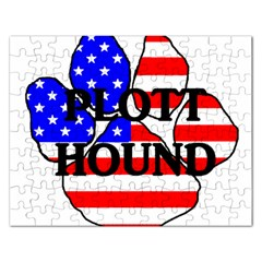Plott Name Usa Flag Paw Rectangular Jigsaw Puzzl