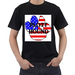 Plott Name Usa Flag Paw Men s T-Shirt (Black) (Two Sided)