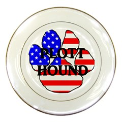 Plott Name Usa Flag Paw Porcelain Plates