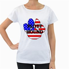 Plott Name Usa Flag Paw Women s Loose-Fit T-Shirt (White)