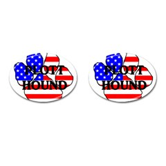 Plott Name Usa Flag Paw Cufflinks (Oval)