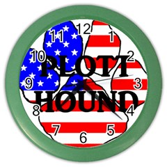 Plott Name Usa Flag Paw Color Wall Clocks