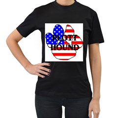 Plott Name Usa Flag Paw Women s T-Shirt (Black)