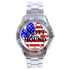 Plott Name Usa Flag Paw Stainless Steel Analogue Watch