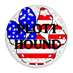 Plott Name Usa Flag Paw Ornament (Round Filigree)