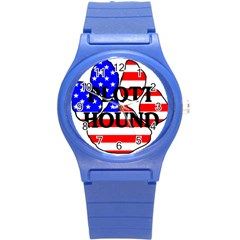 Plott Name Usa Flag Paw Round Plastic Sport Watch (S)