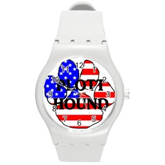 Plott Name Usa Flag Paw Round Plastic Sport Watch (M)