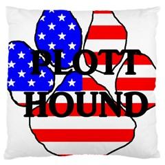Plott Name Usa Flag Paw Large Cushion Case (One Side)