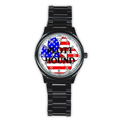 Plott Name Usa Flag Paw Stainless Steel Round Watch