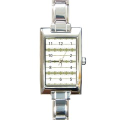Ethnic Floral Stripes Rectangle Italian Charm Watch