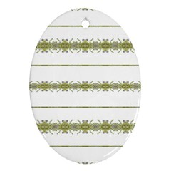 Ethnic Floral Stripes Ornament (Oval)