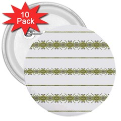 Ethnic Floral Stripes 3  Buttons (10 pack)