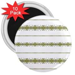 Ethnic Floral Stripes 3  Magnets (10 pack)