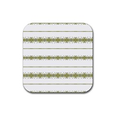 Ethnic Floral Stripes Rubber Coaster (Square)