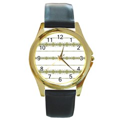Ethnic Floral Stripes Round Gold Metal Watch
