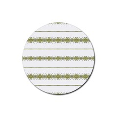 Ethnic Floral Stripes Rubber Coaster (Round)