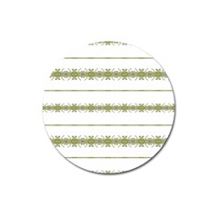 Ethnic Floral Stripes Magnet 3  (Round)