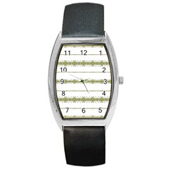 Ethnic Floral Stripes Barrel Style Metal Watch