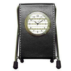 Ethnic Floral Stripes Pen Holder Desk Clocks