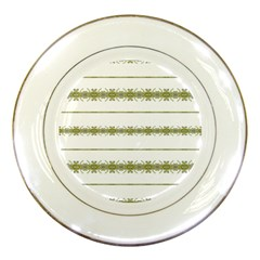 Ethnic Floral Stripes Porcelain Plates