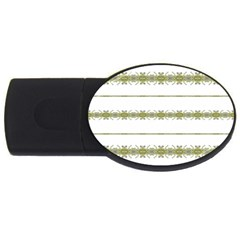 Ethnic Floral Stripes USB Flash Drive Oval (4 GB)