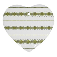 Ethnic Floral Stripes Heart Ornament (Two Sides)