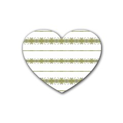 Ethnic Floral Stripes Rubber Coaster (Heart)