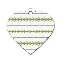 Ethnic Floral Stripes Dog Tag Heart (Two Sides)