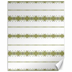 Ethnic Floral Stripes Canvas 11  x 14
