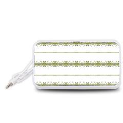Ethnic Floral Stripes Portable Speaker (White)