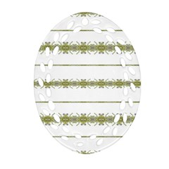 Ethnic Floral Stripes Oval Filigree Ornament (Two Sides)