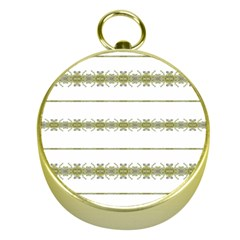 Ethnic Floral Stripes Gold Compasses