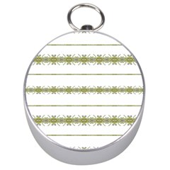 Ethnic Floral Stripes Silver Compasses