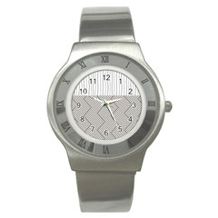 Lines and stripes patterns Stainless Steel Watch
