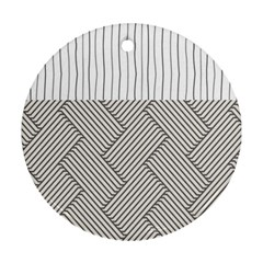 Lines And Stripes Patterns Round Ornament (two Sides)