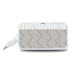 Lines and stripes patterns Portable Speaker (White)