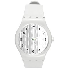 Hand drawn lines pattern Round Plastic Sport Watch (M)
