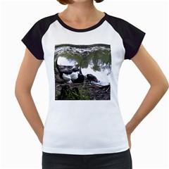 Treeing Walker Coonhound In Water Women s Cap Sleeve T