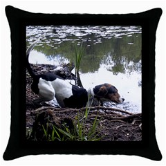 Treeing Walker Coonhound In Water Throw Pillow Case (Black)
